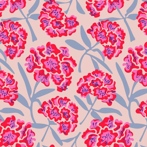 Rhododendron Floral Botanical in Fuchsia Red Blue - MEDIUM Scale - UnBlink Studio by Jackie Tahara