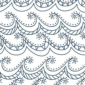 whichway waves - navy and white