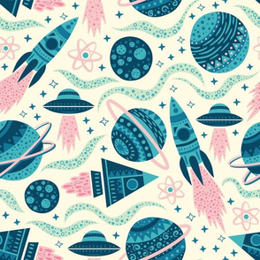 Rockets Planets Space - Medium Scale Blue Pink Mint Cream