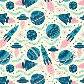 Rockets Planets Space - Small Scale Blue Pink Mint Cream
