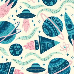 Rockets Planets Space - Large Scale Blue Pink Mint Cream