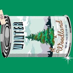 Canned Woods Tea Towel (Green) || winter forest holiday christmas fir pine tree deer paint by numbers snow winter cans food goods grocery supermarket price tags navy pun diy cut and sew kitchen paint by numbers