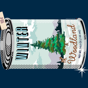 Canned Woods Tea Towel (Milky Way) || winter forest holiday christmas fir pine tree deer paint by numbers snow winter cans food goods grocery supermarket price tags navy pun diy cut and sew kitchen paint by numbers