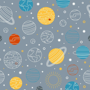 Not to Scale Line Art Solar System - Light Grey
