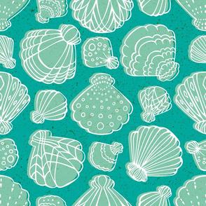 Sea Shells in Teal by ArtfulFreddy