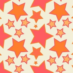 Coral and Orange Stars - Large scale wallpaper and home decor