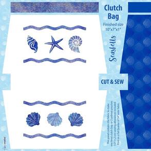 Seashells summer clutch bag // Fat quarter cut and sew panel