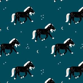 Magic cosmos horses moon and stars boho animal design marine blue black and white
