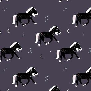 Magic cosmos horses moon and stars boho animal design purple egg plant black white