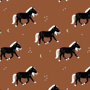 Magic cosmos horses moon and stars boho animal design copper brown black