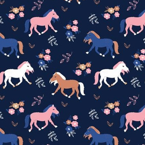 Sweet horses garden and flowers kids blossom blue navy pink