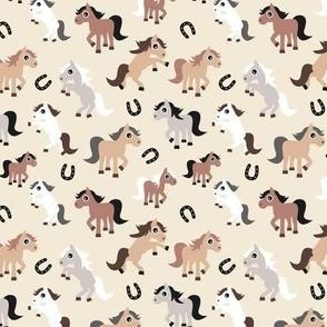 Little horse ranch texas animals cowboy print design kids neutral brown gray