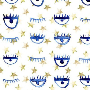 eye star watercolor pattern - trendy stars and eyes p65 - 1