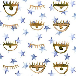 Blue and earthy eye star watercolor pattern - trendy stars and eyes p65 - 3