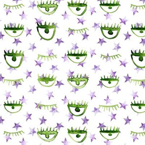 eye star watercolor pattern - purple and green trendy stars and eyes p65 - 4