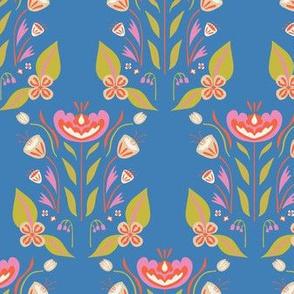 Folk Flower Garden Bloom in blue