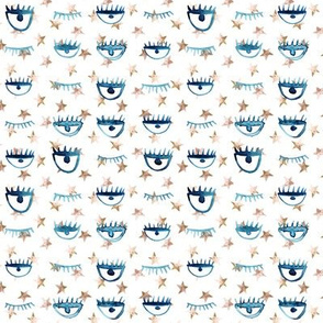 Blue and earthy eye star watercolor pattern - trendy stars and eyes p65 - 5