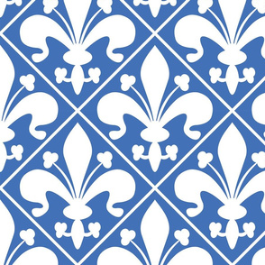 Blue and White French Country Fleur de Lis