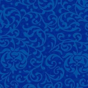Royal Blue Tudor Damask Floral