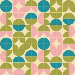 Small Scale - Retro Mid Century Geometric Floral
