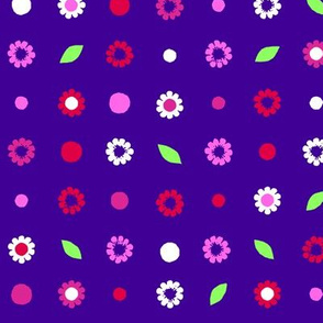 extra large daisy grid - brights on violet blue