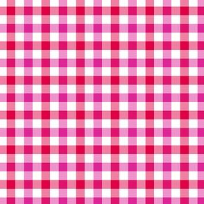 red, white and pink gingham
