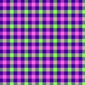 Violet-blue, light green and pink gingham