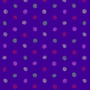 bright spiral dots on violet blue