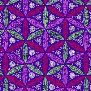 bright pysanky on violet blue