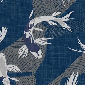 Japanese Koi Fishes - Deep Blue / Large