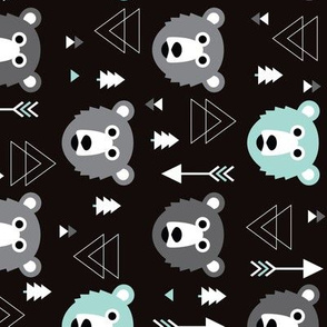 Geometric grizzly bear woodland illustration pattern rotated