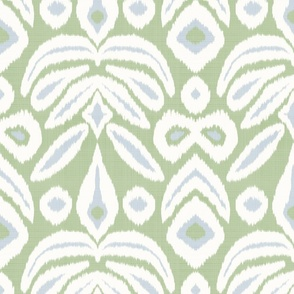 Large Reverse Soft Blue and Green Ikat