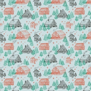 Winter woods cabin vacation in pale blue, red and green