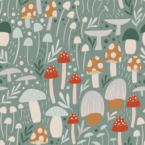 Woodland Mushroom Meadow - sage green - large scale