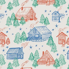 Winter woods cabin vacation in off-white with blue, red and green