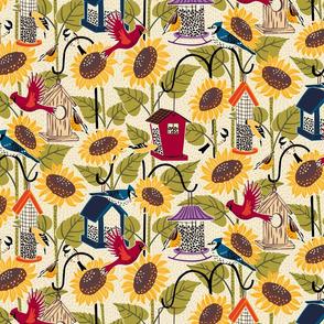 The Birds and Sunflowers from my window // Medium