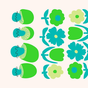 Retro Flowers & Mushrooms Tea Towel