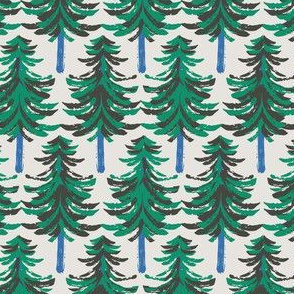 Winter woods holiday fir trees green and blue