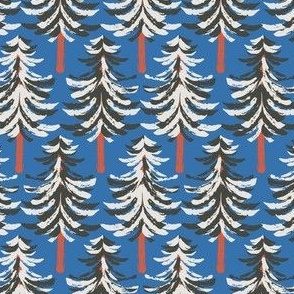 Winter woods holiday fir trees on blue