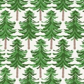 Winter woods holiday fir trees in green