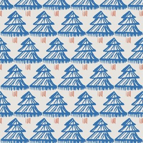 Christmas fir tree block print modern blue on off-white