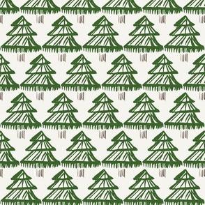 Christmas fir tree block print modern green on off-white