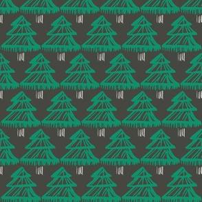 Christmas fir tree block print green on charcoal