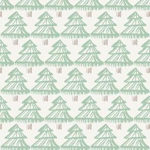 Christmas fir tree block print mint green on off-white