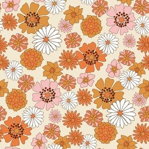MED  boho floral fabric - retro 70s floral fabric, neutral trend - retro colors