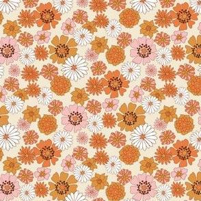 MINI boho floral fabric - retro 70s floral fabric, neutral trend - retro colors
