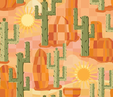 Cactus with Desert Rocks and Sun