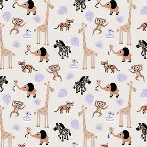 Adorable little African safari animals  elephant zebra giraffe snake and lemur kids design beige brown lilac purple neutral SMALL