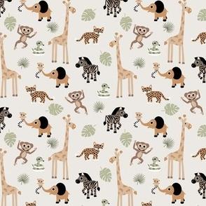 Adorable little African safari animals  elephant zebra giraffe snake and lemur kids design beige brown green neutral  SMALL