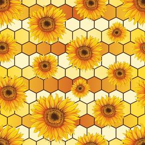 Yellow sunflowers on hexagonal background
